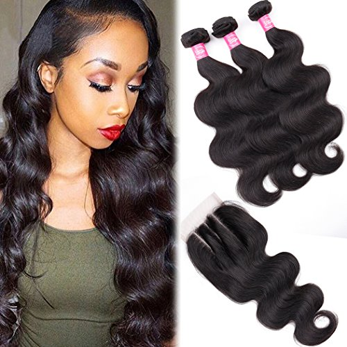 (Body Wave Bundles with Closure 9A Brazilian Remy Human Hair Body Wave (10 12 14+8 Three Part) Unprocessed Brazilian Human Hair Weave 3 Bundles with Lace)