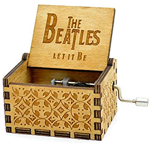 HOSALA Personalizable Let It Be The Beatles Classical Music Box Handmade Laser Engraved Vintage Wooden Hand Crank Musical Box Beatles Gifts for Wedding Birthday/Christmas/Valentine