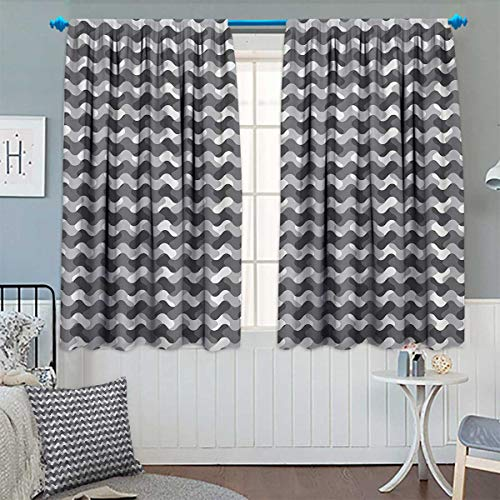 Chaneyhouse Grey Blackout Window Curtain Minimalist Gradient Wavy Flat Lines Influences Retro Stylized Print Customized Curtains 63