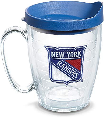 Rangers Coffee Mug (Tervis 1087012 NHL New York Rangers Primary Logo Tumbler with Emblem and Blue Lid 16oz Mug, Clear)