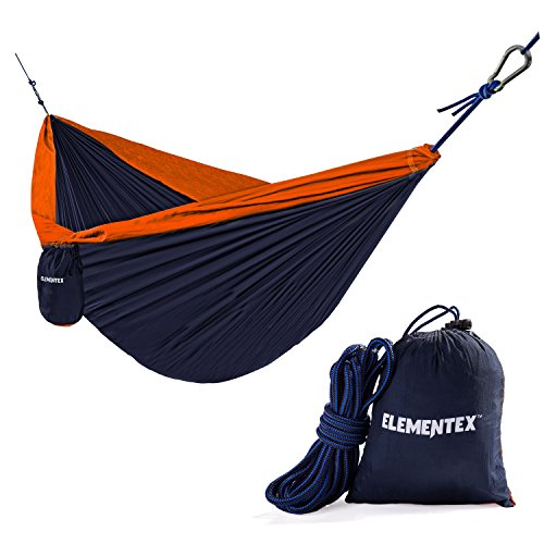 ELEMENTEX Portable Parachute Nylon Travel Camping Backpacking Hammock - Small Navy & Orange