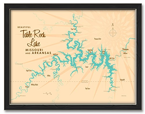 Northwest Art Mall Table Rock Lake Missouri Map Professionally, used for sale  Delivered anywhere in USA