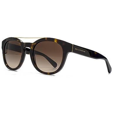 c25d1f056cb89f Dolce   Gabbana Serrure métal Brow Bar rond lunettes de soleil à la Havane  DG4274 502