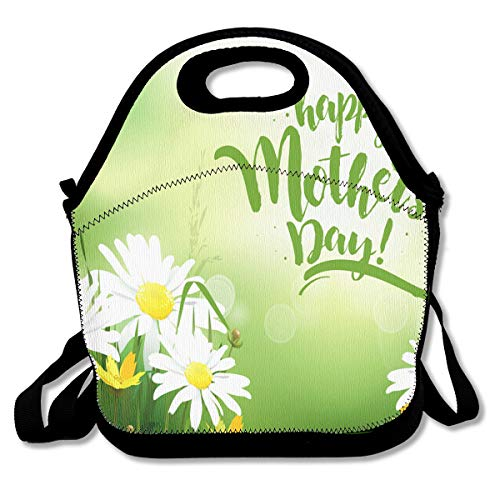 Tmover Mothers Day Greeting Card with Daisy Personalized Insulated Neoprene Lunch Bag for Men and Women Suitable for Office Barbecue Picnic ()