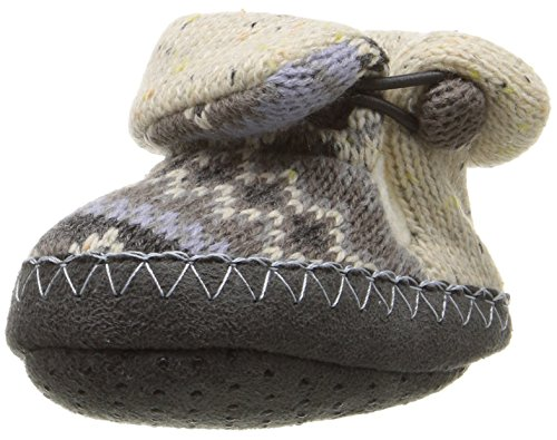 MUK LUKS Baby Sweater Slipper Slide, Grey Vintage, 18-24 Months M US Infant
