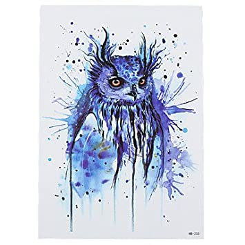 Hjlwst 8pcs Mysterieux Motif De Hibou Bleu Design Dessin Faux