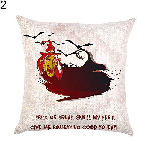 Finance Plan Happy Halloween Fashion Linen Black Cat Pumpkin Witch Home Decorative Pillow Case Cushion Cover ()
