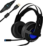 USB Gaming Headset, collee 7.1 Vibration Surround Sound Stereo Overear Headphones with Mic, Volume Control, RGB LED Light for PC/ Mac/ Laptop/ PS4 (Black)