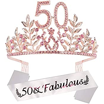 Amazon.com: Tiara de 50 cumpleaños y corona de cristal para ...