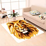 Nalahome Custom carpet tration of the Lion King Biggest Cat in Africa Icon Animal in Tropics Artwork Theme Orange White area rugs for Living Dining Room Bedroom Hallway Office Carpet (5' X 8')
