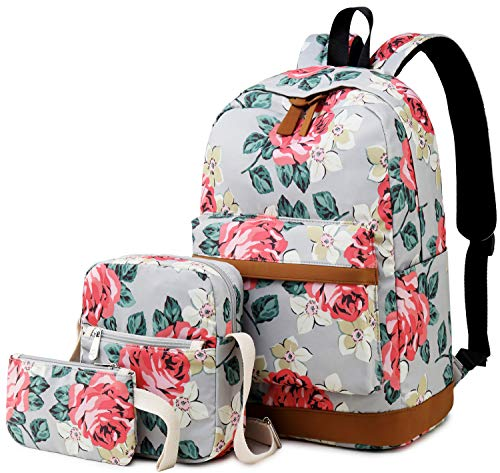 BLUBOON Girls Bookbags School Backpack Laptop Schoolbag for Teens Women High School (A006-Floral Grey)