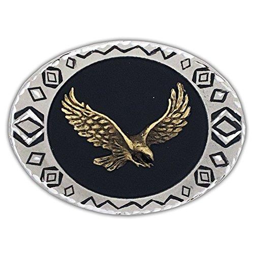 Colorado Silver Star Soaring Eagle, Southwestern Border Diamond Cut Belt Buckle - 5-90W69-DCB