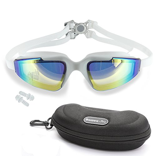 Bezzee-Pro Anti Fog UV Protected Swimming Goggles Color Tinted Lens Swim Glasses with Ear Plugs and Goggles Carrying Case (White - Tinted - Triathalon Goggles