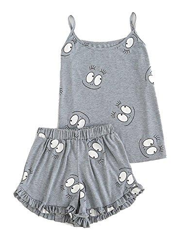 Ruffle Cami Trim (Milumia Women's Cartoon Print Ruffle Trim Cute Sleeveless Cami Pajama Set Small Grey)