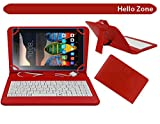 """Hello Zone Exclusive 7"""" Inch USB Keyboard Tablet Case Cover Book Cover for BSNL PENTA S650 -Red"""