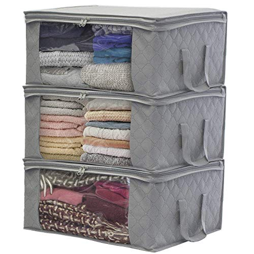Sorbus Foldable Storage Bag Organizers, Large Clear Window & Carry Handles, Great for Clothes, Blankets, Closets, Bedrooms, and More (3-Pack, Gray) (Best Way To Sell Handmade Items)