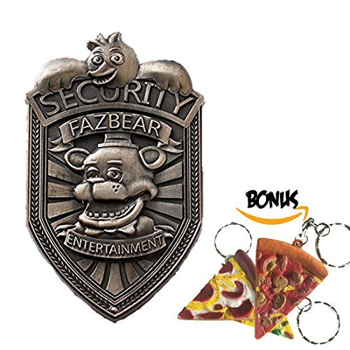 [Silver Five Nights at Freddy's FNAF Fazbear Security Badge Pin with Keychain] (Five Nights At Freddys Costume Mangle)