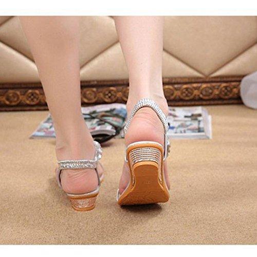 Silver Rhinestone Wedges Sandals Summer Platform Shoes Flats Woman Flops Flip Anboo vqaOwxZt
