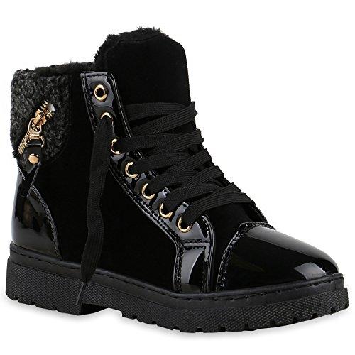 Stiefelparadies Damen Outdoor Boots Kunstpelz Winter Stiefeletten Warm Gefüttert Flandell Schwarz Lack