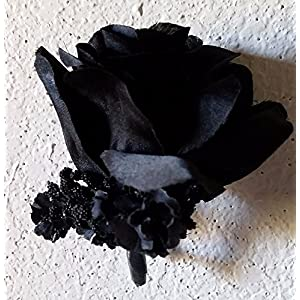 Black Silk Rose Corsage or Boutonniere 50