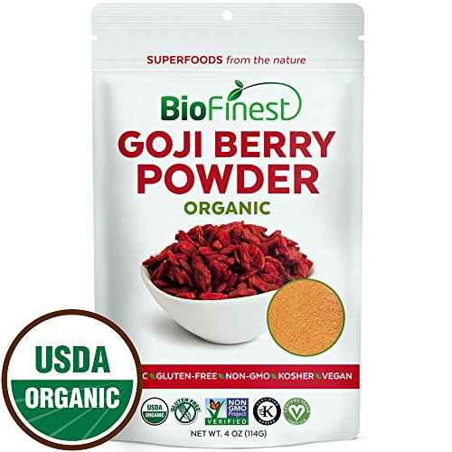 Biofinest Goji Berry Juice Powder - 100% Pure Freeze-Dried Superfood - USDA Certified Organic Kosher Vegan Raw Non-GMO - Boost Energy Eye Health - For Smoothie Beverage Blend (4 oz)