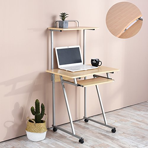 Aingoo Mobile Computer Desk Small Rolling Workstation Laptop Stand With Printer Shelf and Keyboard Space, (Computer Desk Casters)