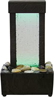 Nice Natureu0027s Mark Cracked Glass Color Changing LED Relaxation Water Fountain  With Authentic River Rocks