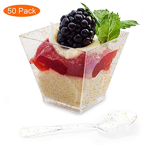 Aitsite 50 Pack 2 Oz Plastic Dessert Cups with Spoons Disposable Gold Glitter Parfait Cups Tasting Appetizer Bowl Square Mini Shooter Dessert Cups for Mousse Chocolate Custard Pudding