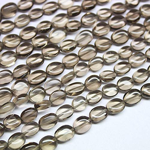 Beads Bazar Natural Beautiful jewellery 2 Strand Natural Smoky Quartz Smooth Oval Gemstone Loose Spacer Craft Beads 13