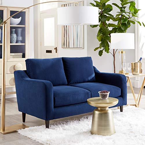 "Sofab Hudson Series Two-Seat Sofa, Royal Style Design Living Room Couch with Sturdy Wood Frame Construction - 59"" W, Indigo Blue"
