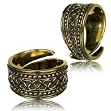 Earth Accessories Vintage Gold Tone Adjustable Finger Ring