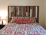Reclaimed Wood Headboard Panel for King Bed (82.5'' X 37.5'') made of Recycled, Rustic Barn Wood. Wallmounted. Your Choice of Accent Colors