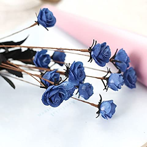 AMAZZANG-15 Heads Rose Artificial Fake Flower Bouquet Home Floral Wedding Party Décor PE (navy) - Rose Bouquet Wedding Invitations