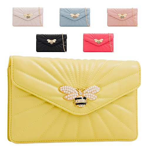KL2245 Lemon Clutch Insect Evening Handbag Bag Pearl Women's Bee Quilted Bag Ladies Charm qSFPnx6wn7
