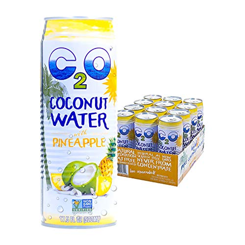 (C2O Pure Coconut Water with Pineapple   Plant Based   Non-GMO   No Added Sugar   Essential Electrolytes   17.5 FL OZ (Pack of 12))