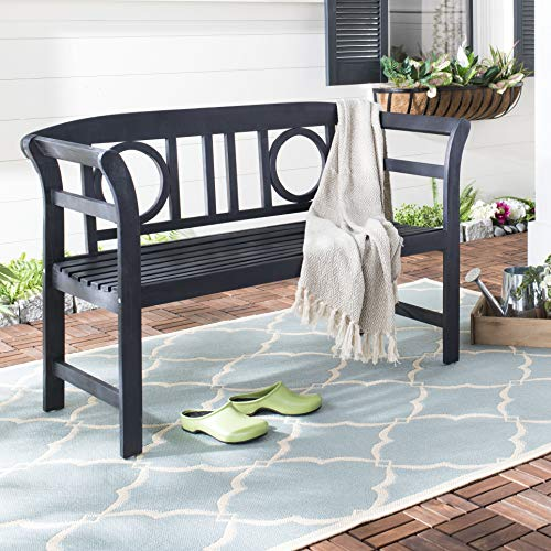Safavieh PAT6743K Outdoor Collection Moorpark Dark Slate Grey 2 Seat Bench, Gray