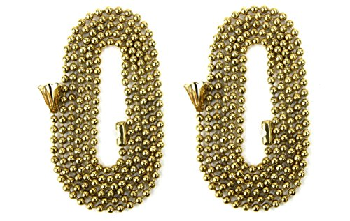 Pack Of 2 Pull Chain Extension, 36 Inch, Brass 3-Feet Beaded Chain With (Brass Pull Chain)