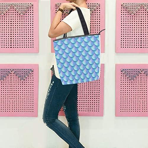 BKEOY Grand sac à main à bandoulière avec écailles de poisson bleues
