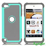 AGRIGLE Shock- Absorption/High Impact Resistant Hybrid Dual Layer Armor Defender Full Body Protective Cover Case For iPod Touch 5 5th Generation (Grey-Teal)
