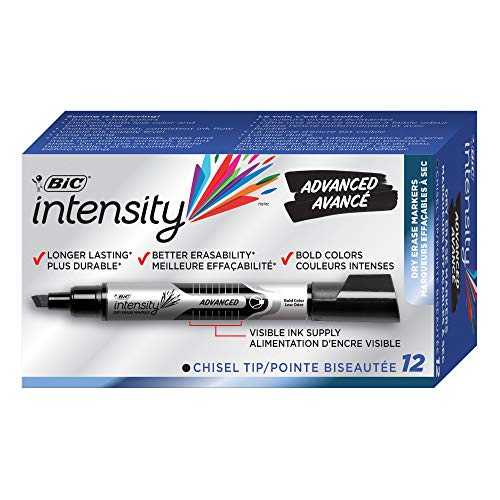 - BIC Intensity Advanced Dry Erase Marker, Tank Style, Chisel Tip, Black, 12-Count