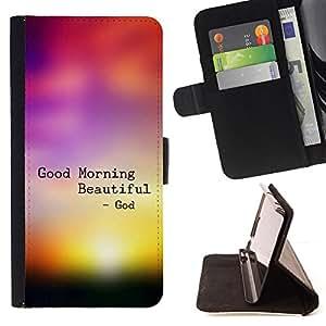 BullDog Case - FOR/Samsung ALPHA G850 / - / GOOD MORNING BEAUTIFUL /- Monedero de cuero de la PU Llevar cubierta de la caja con el ID Credit Card Slots Flip funda de cuer