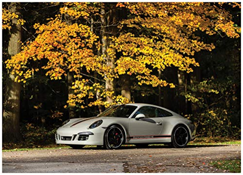 """Porsche 911 Carrera GTS Coupe Rennsport Reunion"""" (2016) Car Art Poster Print on 10 Mil Archival Satin Paper Light Silver Front Side Static View (18"""