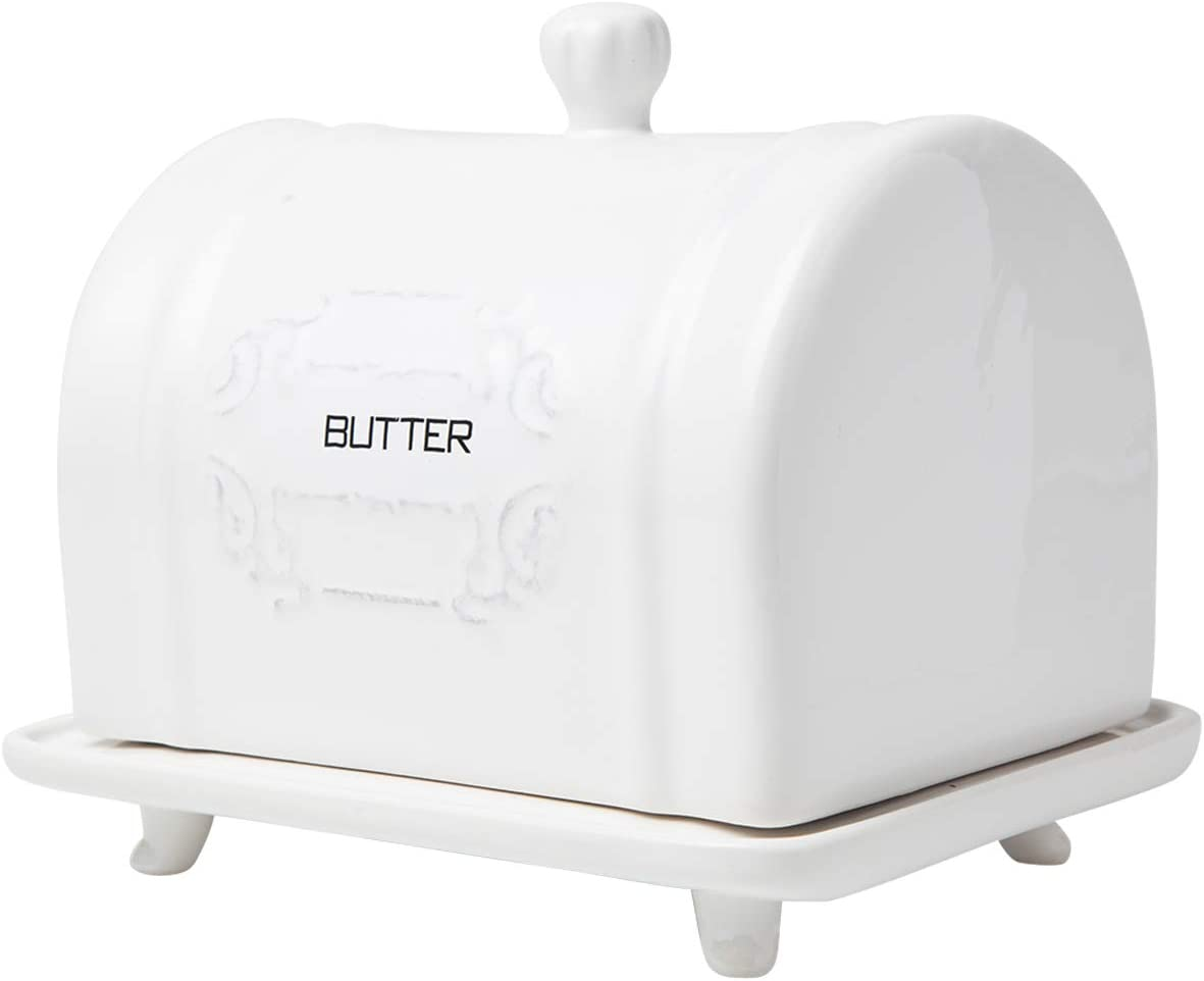 White Butter Container Vintage Ceramic Butter Holder French Convenient Country Style Design French Design Ceramic Butter Dish with Lid Decorative Butter Keeper with Embossed