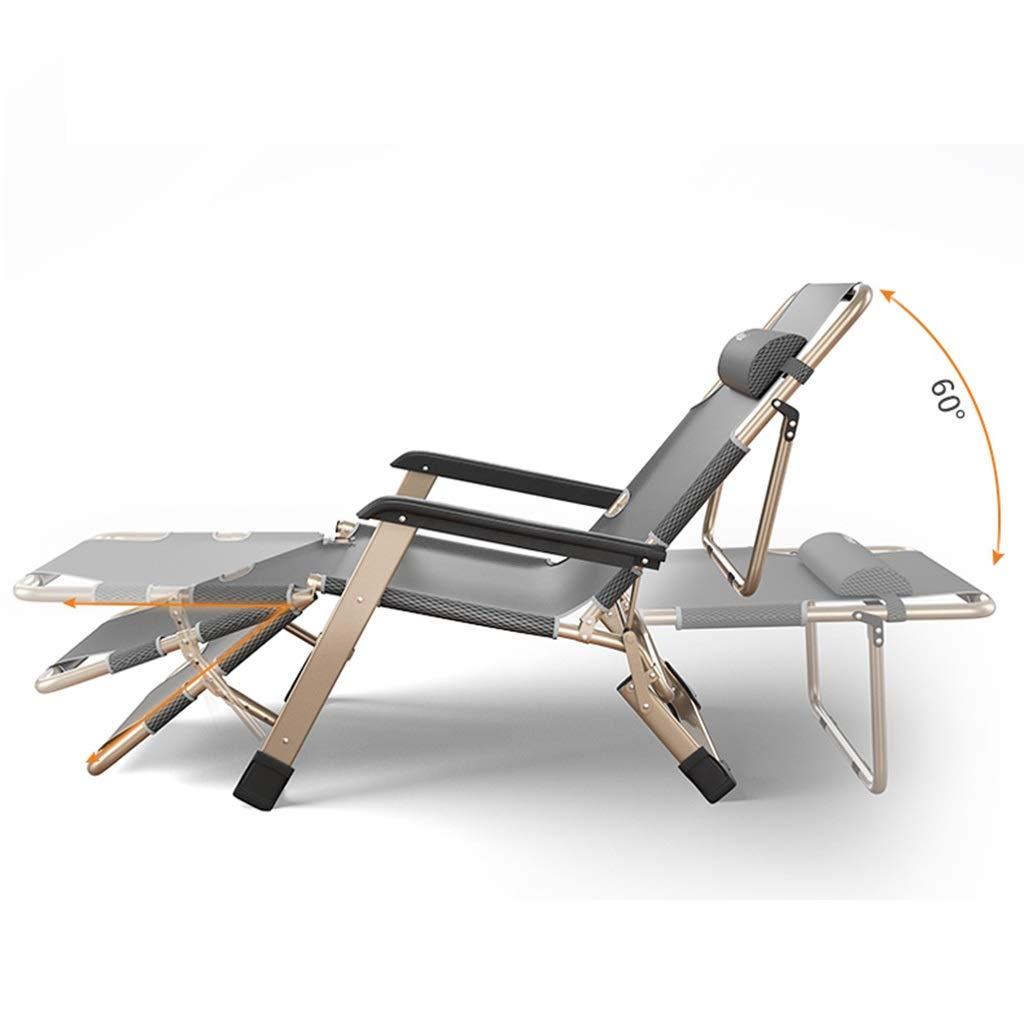 XEWNEG Multifunktionell liggstol, bärbar justerbar fritidsstol, vikbar hushåll-enkel stol, med wattplattor och stödstång, för trädgårdsutrymmen utomhus (färg: D) D