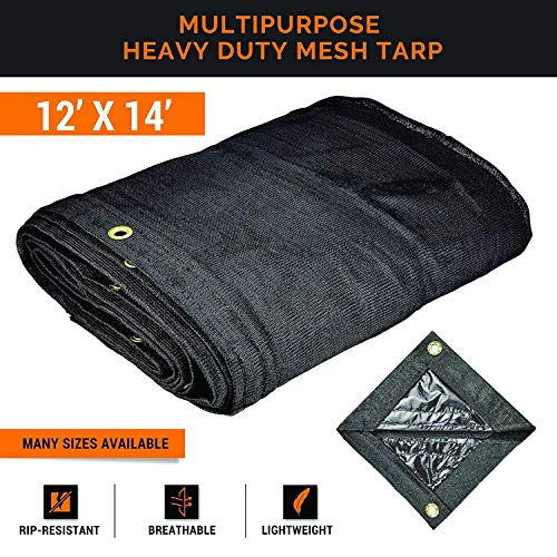 Xpose Safety Heavy Duty Mesh Tarp – 12' x 14' Multipurpose Black Protective Cover with Air Flow - Use for Tie Downs, Shade, Fences, Canopies, Dump Trucks – Tear Resistant