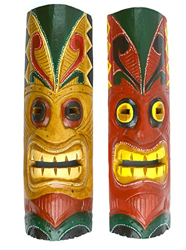 20-SET-OF-2-HANDMADE-TIKI-MASK-HAWAIIAN-POLYNESIAN-WALL-ART-TRIBAL-BAR-TROPICAL