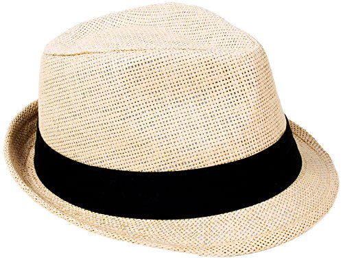 Verabella Fedora Hat Women/Men's Summer Short Brim Straw Sun Hat,Natural,SM -