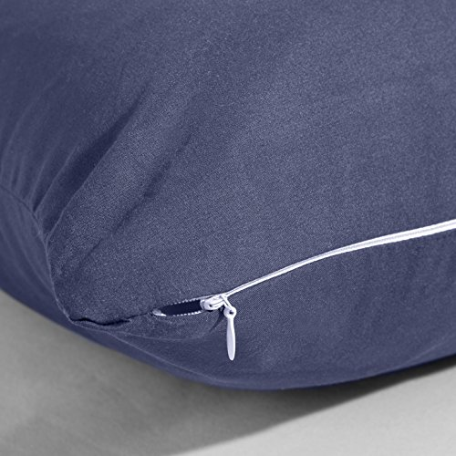Evolive smooth Microfiber Body Pillow Cover Replacement 21x 54 using Zipper Closure Navy
