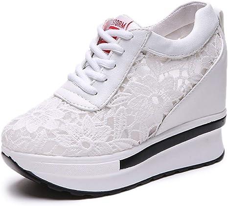 JXILY Zapatos Tejidos Voladores Zapatillas Altas con Hilo de Red Zapatos Solteros Running Zapatos Transpirables Mujer Deporte Casuales Zapatos,Blanco,38: Amazon.es: Deportes y aire libre