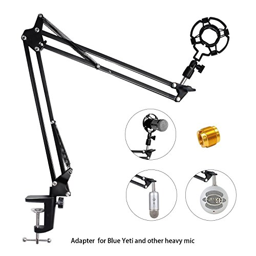 Upgraded Adjustable Microphone Suspension Boom Scissor Arm Stand with Shock Mount Mic Clip Holder 3/8'' to 5/8'' Screw Adapter -for Blue Yeti, Snowball & Other Microphones (stand with adapter) Boom Arm Microphone Stand